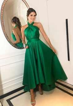 Green Prom Dress,Satin Prom Gown, Halter Prom Dress/ friday dresses in new fashion · Friday Dresses · Online Store Powered by Storenvy A Line Prom Dresses, Formal Dresses For Women, Prom Party Dresses, Elegant Dresses, Bridesmaid Dresses, Dress Party, Prom Gowns, Long Dresses, Occasion Dresses