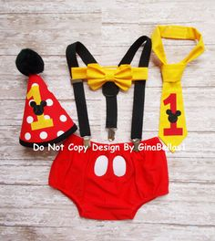 Mickey Mouse Birthday outfit cake smash suspenders first 1st diaper cover bow tie or I am one tie costume Red Hat 12 18 24 m toddler SALE