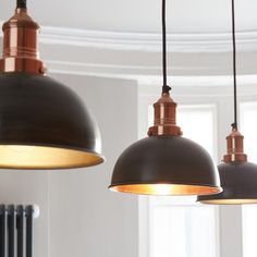 Brooklyn Vintage Small Metal Dome Pendant Light - Dark Pewter & Copper - 8 inch