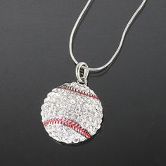 Baseball Rhinestone Necklace.. Need on for baseball season...