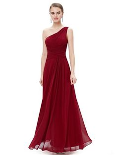 Ever Pretty Elegant One Shoulder Slitted Ruched Evening Dress - Ever-Pretty US