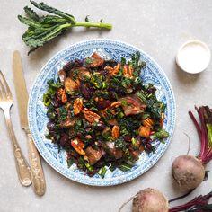 Miso aubergine, kale and roasted beetroot winter salad #madeleineshaw #gettheglow