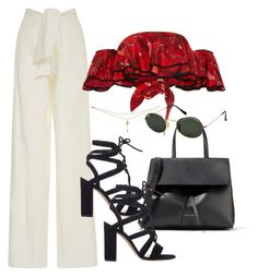 """Untitled #3434"" by camilae97 ❤ liked on Polyvore featuring Johanna Ortiz, Gianvito Rossi, Ray-Ban and Mansur Gavriel"