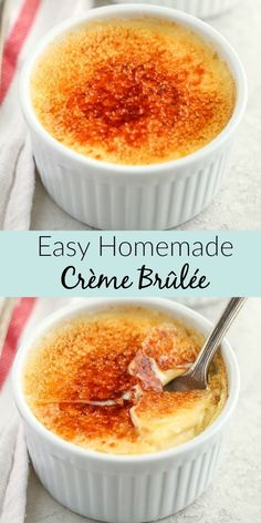 This Easy Crème Brûlée is made with just four ingredients and features a rich custard base with a crisp caramelized topping. This Easy Crème Brûlée is made with just four ingredients and features a rich custard base with a crisp caramelized topping. Dessert Simple, Dessert For Two, Cream Brulee, Creme Brulee Dishes, Creme Brulee Ramekins, Custard Recipes, Recipes With Egg Yolks, Baked Custard Recipe, Best Flan Recipe