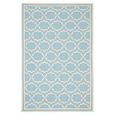 Anchor your living room seating group or define space in the den with this artfully hand-woven wool rug, featuring a geometric trellis motif for eye-catching...