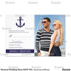 Nautical Wedding Photo RSVP With Anchor Card A nautical wedding photo RSVP card, featuring a navy blue boat anchor and your favorite engagement image.