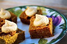 These pumpkin squares are easier to make than pumpkin pie and they are firm enough to be eaten as finger food. They are great by themselves, or add a bit of M