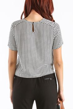 Cathy Black and White Grid Top
