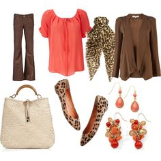 Casual Fall Outfit -- coral, brown and leopard prints with a Salvatore Ferragamo beige Ceyla handbag