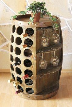 Wine rack – wine barrel Source by biancaestel Tonneau Bar, Wine Barrel Table, Wine Barrel Furniture, Barris, Barrel Projects, Bar A Vin, Portable Bar, Home Room Design, New Home Designs