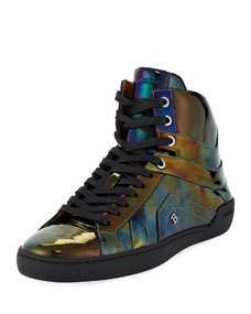 cfd9e5d258f Bally Mens Eticon Petrol Patent Leather High-Top Sneakers