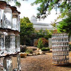 A daytime image of Bruce Munro's Water Towers. #BruceMunroLIGHT at Franklin Park Conservatory opens September 25!