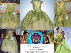 Tiana the princess and the frog disney handmade for childs toddler adults or girls green with white presentation 3 years dress for glitz pageant contests, carnival, disguise dressup costume cosplay disguise performer play party formal cheap quinceanera quince prompt cupcake ball gown for sale miguelzotto@yahoo... Princesa Tina de la princesa y el sapo vestido tipo disfraz hermoso propio graduacion kinder presentacion de 3 años, cumpleaños y eventos formales quinceañera barato vendo mexico