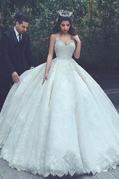 V-neck Wedding Dress, Wedding Dress For Cheap, Ball Gown Wedding Dress, Wedding Dresses 2018, Wedding Dress Lace, V-Neck Wedding Dress #Wedding #Dresses #2018 #Vneck #Dress #For #Cheap #VNeck #Ball #Gown #Lace