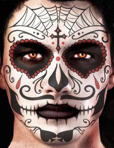 Tatouage ephémere visage Dia de los muertos homme-1 Sugar Skull Halloween, Halloween Skull, Dead Makeup, Clown Makeup, Heloween Make Up, Dead Bride Costume, Maquillage Sugar Skull, Skull Face Paint, Mask Painting