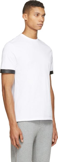 Neil Barrett White Leather Trim T-Shirt