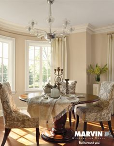 Designer Dining Room Decorating Ideas      French-Inspired Dining Room   When remodeling this space, David Heide chose Marvin's Ultimate French Push Out casement windows, which fuse expert engineering with easy elegance.  Susan Gilmore