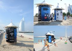 BlackBerry were the first brand to take the exclusive advertising rights on the branded changing cabins on the public beaches of Dubai. The cabins have integrate solar powered 4G/LTE WiFi hotspots. The system works on a social wifi basis and allows companies to capitalise on the benefits of social networking. Anyone using the internet service on the Beach is required to simply 'like' the relevant Facebook page or 'tweet' about their location to gain access.