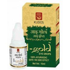 Kudos I-Gold Eye Drops Buy Online at swadeshaj.com Kudos Ayurveda, Eye Drops, Gold Eyes, Active Ingredient, Herbalism, Chemist, Stuff To Buy, India, Big