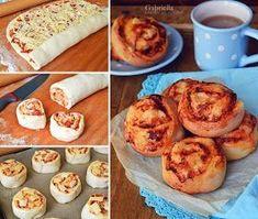 Pizzás csiga Winter Food, Pasta Recipes, Cupcake, Muffin, Snacks, Baking, Breakfast, Drink, Morning Coffee