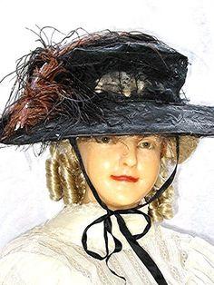 Edwardian Hat Wide Brim 1910s Antique w/Ostrich Feather Huge.