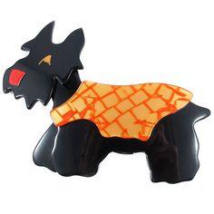 Lea Stein Kimdoo Dog Scottish Terrier Brooch Black + Orange