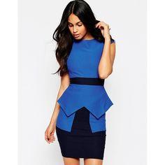 Vesper Suki Two Color Peplum Dress ($69) ❤ liked on Polyvore featuring dresses, blue, blue peplum dress, cap sleeve cocktail dress, blue bodycon dress, bodycon wrap dress и rayon dress