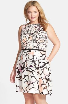 Taylor Dresses Twin Print Fit & Flare Dress (Plus Size) available at #Nordstrom