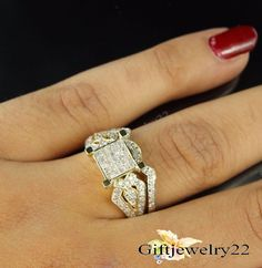 1.58 CT Diamond  Wedding Bridal Ring Set Engagement Ring 14k Yellow Gold Over #giftjewelry22