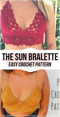 crochet Here Comes the Sun Bralette pattern - easy crochet top pattern for beginners # crochet fashion crochet Here Comes the Sun Bralette pattern Top Tejidos A Crochet, Débardeurs Au Crochet, Mode Crochet, Crochet Shirt, Crochet Crop Top, Crochet Woman, Diy Crochet Bralette, Diy Crochet Bikini Top, Crochet Halter Tops