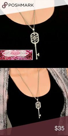 Crystal Key 2 Chains Long Necklace NEW Brand NEW Bundle & Save  Hypoallergenic Nickel Free zdazzled Jewelry Necklaces