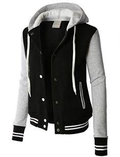 LE3NO PREMIUM Womens Contrast Sleeve Fleece Varsity Baseball Hoodie Jacket  at Amazon Women s Coats Shop Jackets 7cab44c6d
