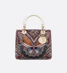 Lady Dior flap bag in calfskin embroidered with a multicolored butterfly motif, shoulder strap. Dior Handbags, Purses And Handbags, Leather Handbags, Dior Bags, Luxury Purses, Luxury Bags, Sac Lady Dior, Christian Dior, Trendy Handbags