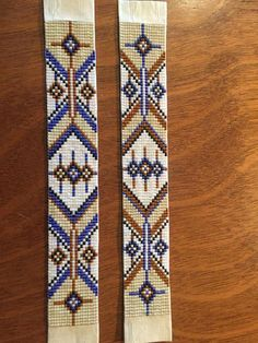 Navajo west bohemian native american inspired delica glass blue and brown loom beaded bracelet with leather back and tie closure Loom Bracelet Patterns, Seed Bead Patterns, Bead Loom Bracelets, Peyote Patterns, Beading Patterns, Beading Ideas, Jewelry Patterns, Beading Supplies, Native Beadwork