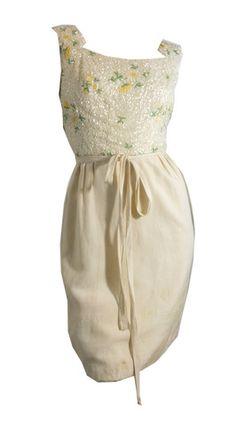 Yellow Floral Beaded Cocktail Dress circa 1960s - Dorothea's Closet Vintage