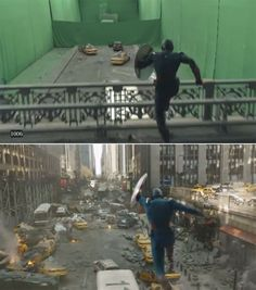 Avengers: Before and after green screen + CGI (5)