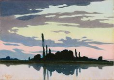 Charles Victor Guilloux | Evening (Crepuscule), 1892 | Musée d'Orsay, Paris | a few dark trees on a barely visible strip of land are silhouetted against water and sky.