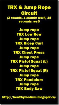 Just started TRX. Don't know what I'm doing so this guide helps. Strength, balance and cardio with the jump rope active rests.