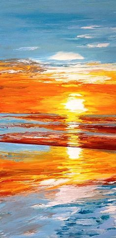 """Orange Sunset Over the Ocean. Large acrylic on canvas painting by award-winning Ithaca artist Ivy Stevens-Gupta. Blue sky, Orange sun, reflection in the water, beach, wading, sand, shimmering, contemporary, modern, abstract, colorful, happy, bright, one-of-a-kind. Included in series titled, """"In Plane View: Skyscapes and Abstract Art Inspired by Aviation."""" High gloss finish. Large painting measures 24"""" x 48""""."""