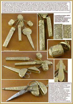 "Chatelaine. ""Equipage for needlework. English, c. 1730."""