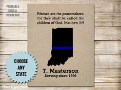 Police Officer Gifts Thin Blue Line Blessed Are The Peacemakers