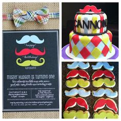 Little mister mustache and argyle cake with mustache cookies