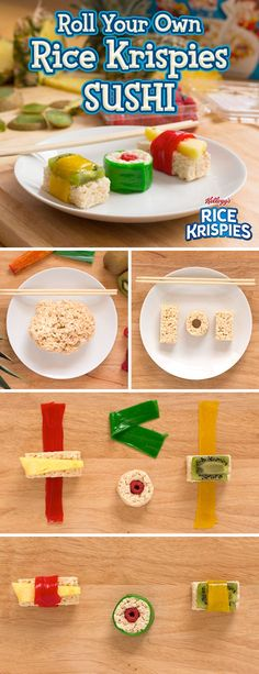 Channel your inner sushi chef with this simple and delicious Rice Krispies Treats activity. Using the homemade Rice Krispies Treats you know and love, all you need is some healthy fresh fruit and fruit leather! And just like that, you and your kids can ma Cute Food, Good Food, Yummy Food, Rice Crispy Treats, Krispie Treats, Cake Candy, Reis Krispies, Little Lunch, Cooking With Kids