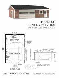 2 Car Garage With Shop Plans - 864-1 By Behm Design