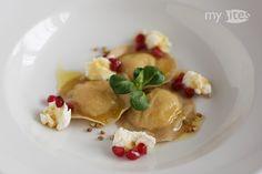 Buckwheat-Celery Ravioli + Goat Cheese, Chestnut Honey, Pomegranate & Orange Butter (by mybites)