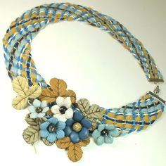 Купить Джинсовый в Клетку Этюд. Колье и брошь из натуральной кожи - комбинированный, синий, голубой