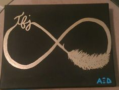 Alpha Xi delta canvas craft for little. Infinity sign with quill and TFJ - purdue University
