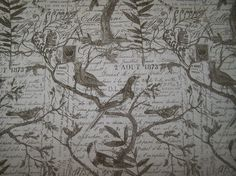 excellent french script fabric by the yard. Love Nest BIRDS inTea Ieaves on French Script multipurpose fabric Custom order Stone color 5yards  script Upholstery