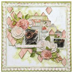 Layout designed for the Merly Impressions Retreat July using Cottage Rose Kaisercraft collection. Scrapbook Layout Sketches, Scrapbooking Layouts, Scrapbook Journal, Scrapbook Pages, Smash Book Pages, Shabby Chic Theme, Mixed Media Scrapbooking, Card Tags, Cards