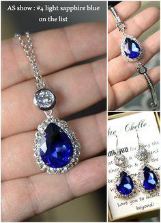 Navy blue,sapphire blue Wedding Jewelry Bridesmaid Gift Bridesmaid Jewelry Bridal Jewelry drop Earring set necklace bracelet,bridesmaid gift